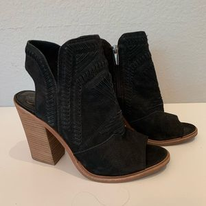 Vince Camuto black open toe booties